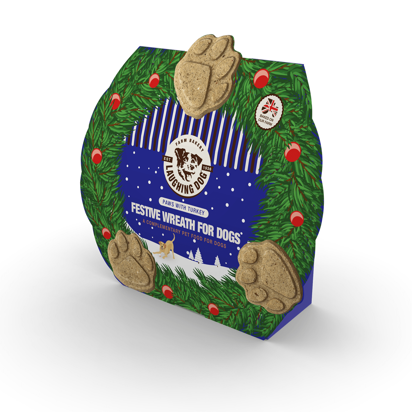 Festive Wreath for Dogs - Paws with Turkey Image   Laughing Dog Food