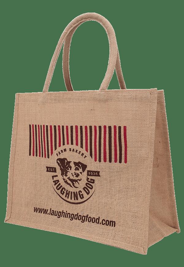 Dog Happy Jute Bag Image | Laughing Dog Food